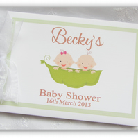 PERSONALISED BABY SHOWER - TWO PEAS IN A POD TWINS - PHOTO-GUEST BOOK ALBUM