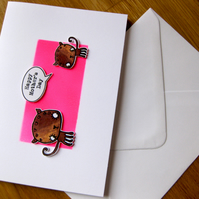 mother's day greeting card, pink cats