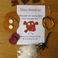 DIY craft kit - felt robin brooch