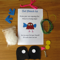 DIY craft kit - felt owl brooch