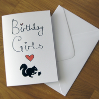 personalised birthday card, girls, owl, cat, horse, birthday girls, moustache