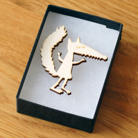 fox brooch, laser cut wood, woodland theme natural jewellery