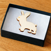 bunny rabbit brooch, laser cut wood, woodland theme natural jewellery