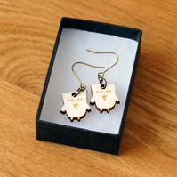 owl earrings, laser cut wood, woodland theme natural jewellery