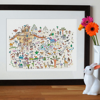 noah's ark print, nursery wall art