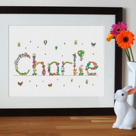 baby name print with animal letters (custom), new baby gift, christening present