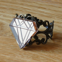 diamond ring, laser cut acrylic mirror jewellery