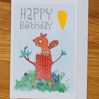 beaver with balloon, happy birthday card