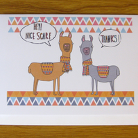 llama or alpaca greetings card, anniversary, birthday, valentines, any occasion