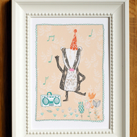 dancing party badger art print, A5 digital print, woodland theme, flowers, music
