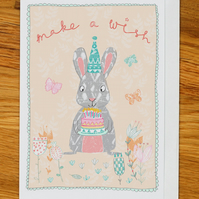 rabbit with cake birthday card, greetings card, woodland party with flowers