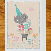 cat with presents birthday card, greetings card for any occasion, woodland party