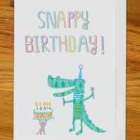 crocodile birthday card, snappy birthday card with alligator, mouse and birthday