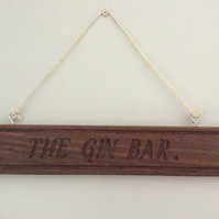 hardwood gin bar sign