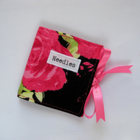 Fabric Sewing Needle Keeper in Black and Hot Pink Flowers Print