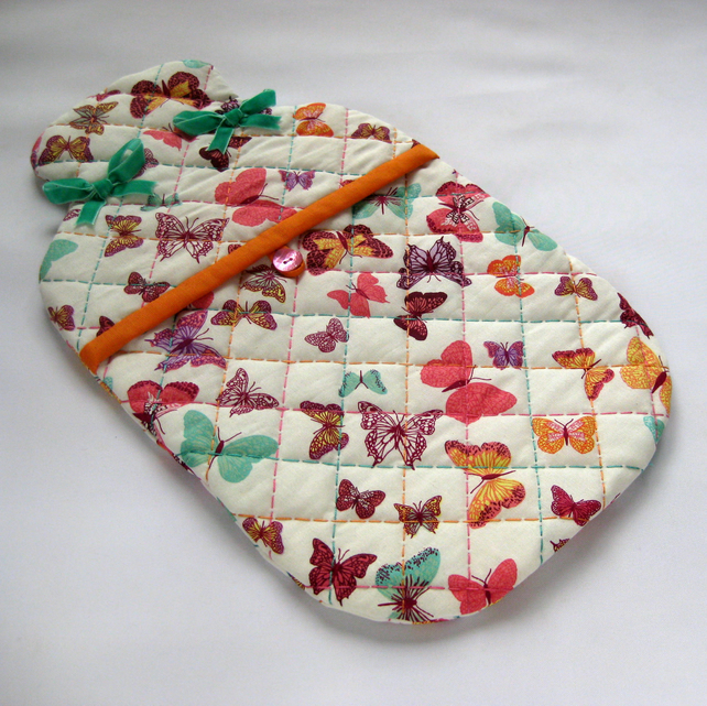 Quilted Cover for Hot Water Bottle in Colourful... - Folksy : quilted hot water bottle cover - Adamdwight.com