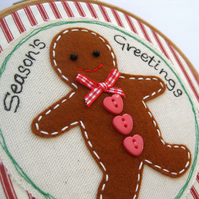 Hoop Art Christmas Gingerbread Man Free Motion Embroidery 6""