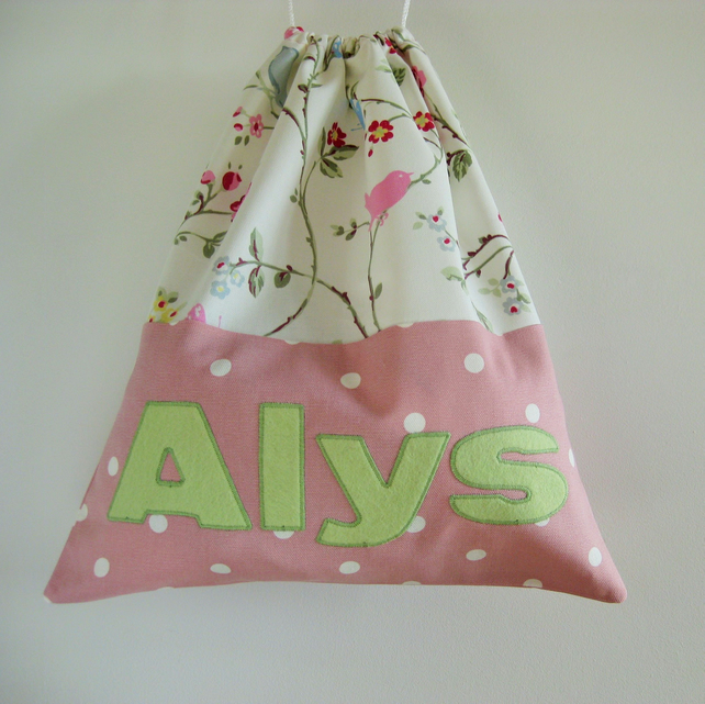 Personalised Bag for Girls with Floral and Pink Polka Dot Print