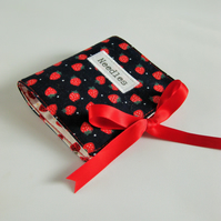 Sewing Needle Wallet with Strawberry Print