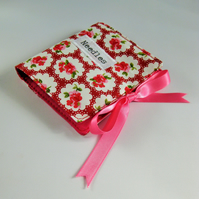 Sewing Needle Case with Red Ditsy Print