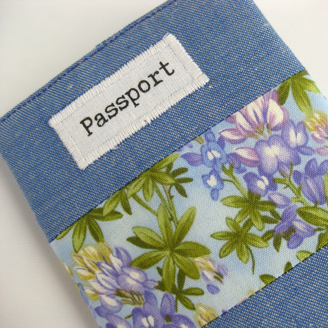 Passport Cover with Blue Chambray and Purple Lupins