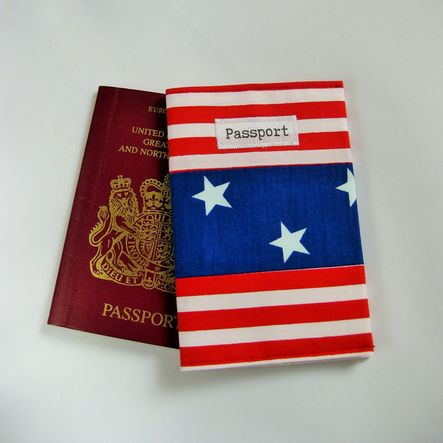 Passport Cover in Patriotic American Stars and Stripes