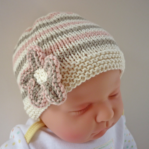 Knitted Daisy Flower Pattern : Baby Hat Knitting Pattern pdf - EMILIE - Folksy