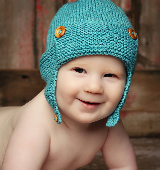 Knitted Finger Puppet Patterns : Baby Aviator hat Knitting Pattern pdf - WRIGHT-... - Folksy