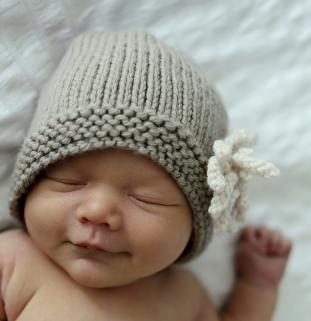 Knitting Pattern PDF Hat with Flower Baby to Ch... - Folksy