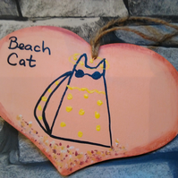 Beach Cat hand painted original heart hanging decoration