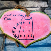 Hand painted Watermelon Cat heart hanging decoration