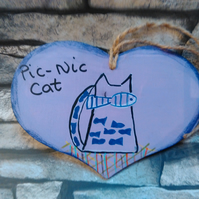 Picnic Cat with fish heart hanging decoration