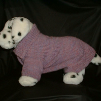 Knitted woollen dog sweater terrier sized dusky pink