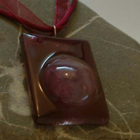 Handmade kiln formed glass pendant with textile necklace- burgundy