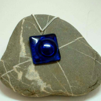 Handmade kilnformed glass pendant in blue with silver plated chain