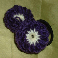Handmade woollen flower hair bands - purple