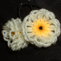 Handmade woollen flower hair bands - yellow