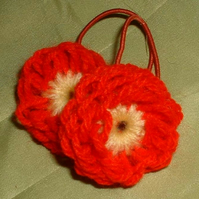 Handmade woollen flower hair bands - red & yellow