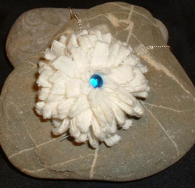 Hand made frayed fabric flower necklace - cream & blue