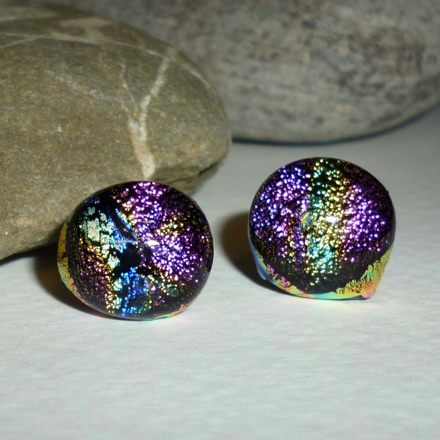 Hand crafted dichroic earrings - varigated - pink, blue, gold & aqua