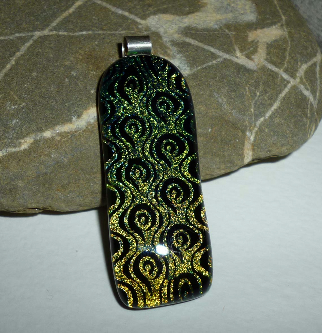 Handmade dichroic etched pendant with silver bail