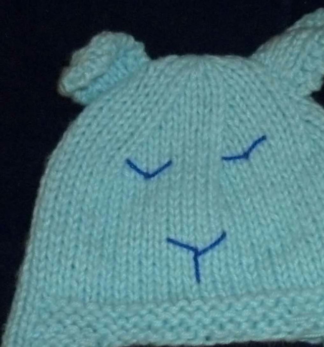 Hand knitted baby bear hat - blue - 6 month upwards