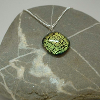Handmade etched dichroic glass pendant - gold