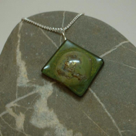 Handmade kiln formed glass bubble pendant - olive green