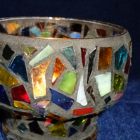 Hand made mosaic glass shaped candle vase - mixed colours & black