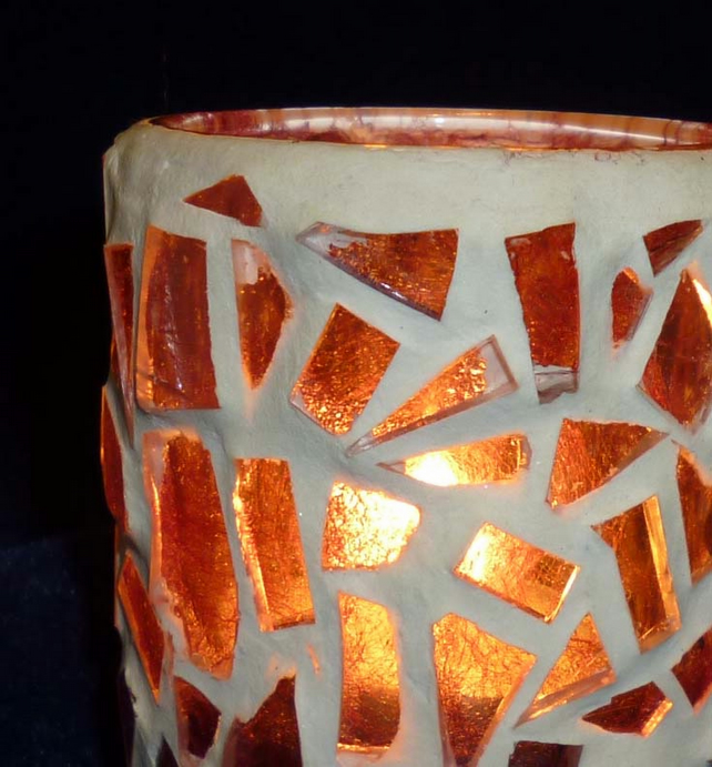 Hand made silkpaper & glass candle votive