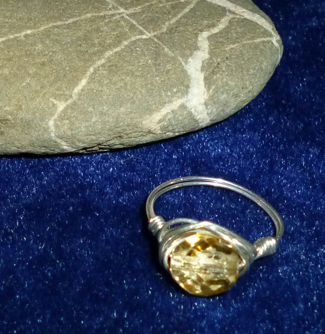 Silver plated wire wrapped ring - light amber crystal & silver