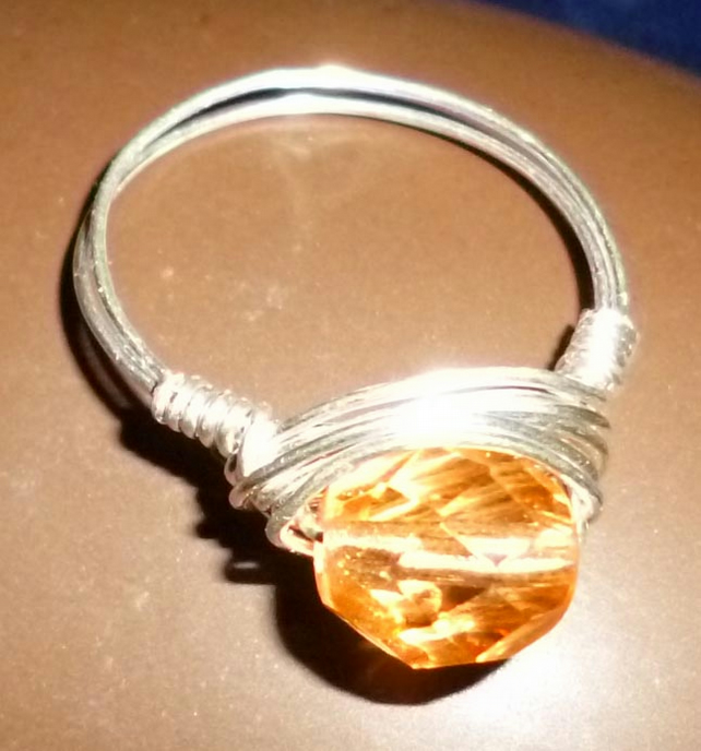 Hand made silver plated wire wrapped ring - peach or pale amber & silver