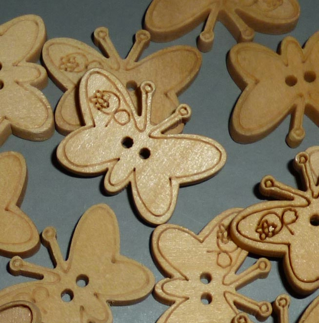 Wooden butterfly buttons  set of 5
