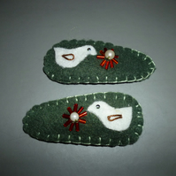 Hand made textile hair clips with bead & applique